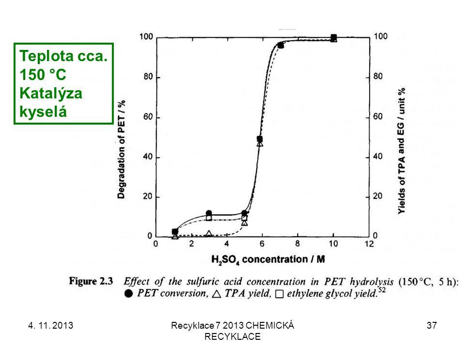 4. 11. 2013Recyklace 7 2013 CHEMICKÁ RECYKLACE 37 Teplota cca. 150 °C Katalýza kyselá