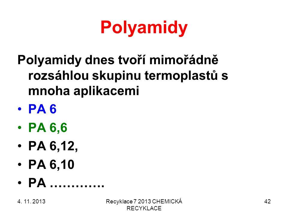 Polyamidy Polyamidy dnes tvoří mimořádně rozsáhlou skupinu termoplastů s mnoha aplikacemi PA 6 PA 6,6 PA 6,12, PA 6,10 PA ………….
