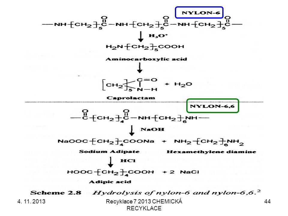 4. 11. 2013Recyklace 7 2013 CHEMICKÁ RECYKLACE 44