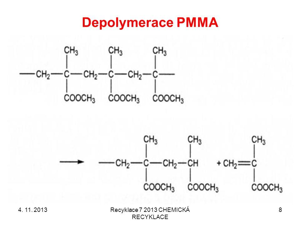 Termická depolymerace PMMA Poprvé patentováno v Německu už v roce 1949 Další procesy: –Depolymerace ve dvojšnekovém extruderu (1998) –Termický rozklad drtě při 500 °C (1997) firmy ICI & Mitsubishi Rayon 4.