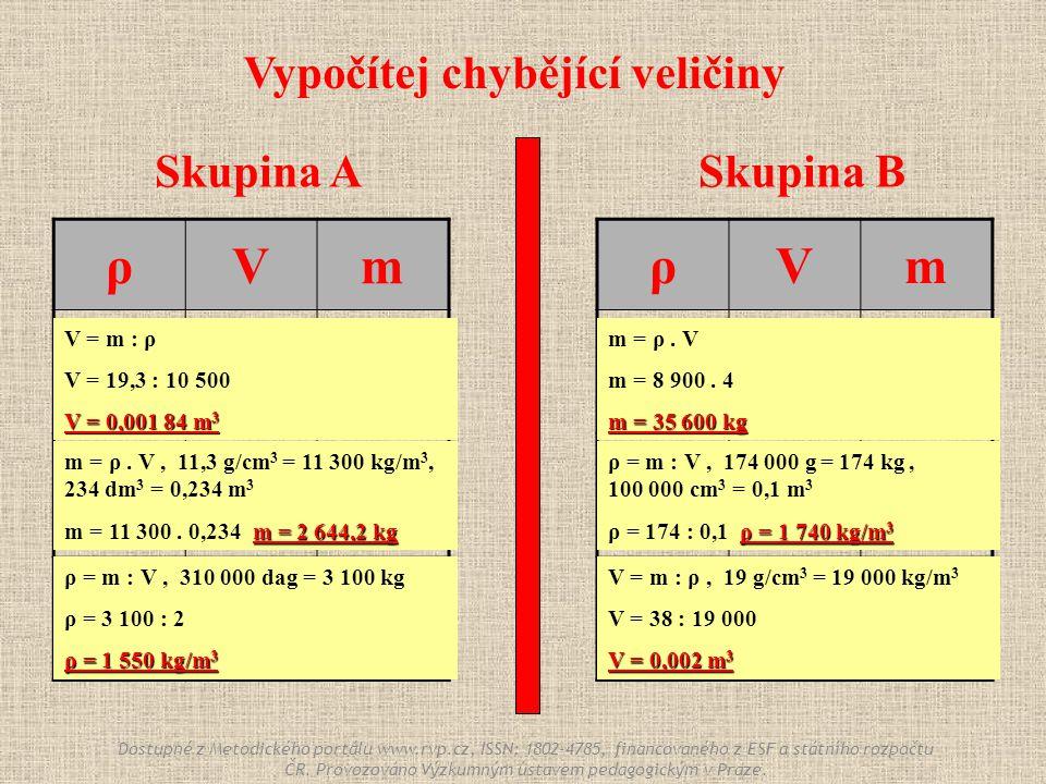 Skupina ASkupina B ρVm 8 900 kg/m 3 4m34m3 . 100 000 cm 3 174 000 g 19 g/cm 3 .