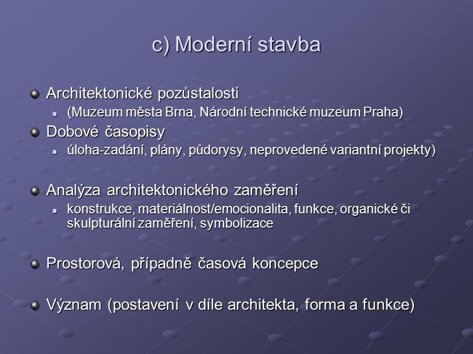 c) Moderní stavba Architektonické pozůstalosti (Muzeum města Brna, Národní technické muzeum Praha) (Muzeum města Brna, Národní technické muzeum Praha)