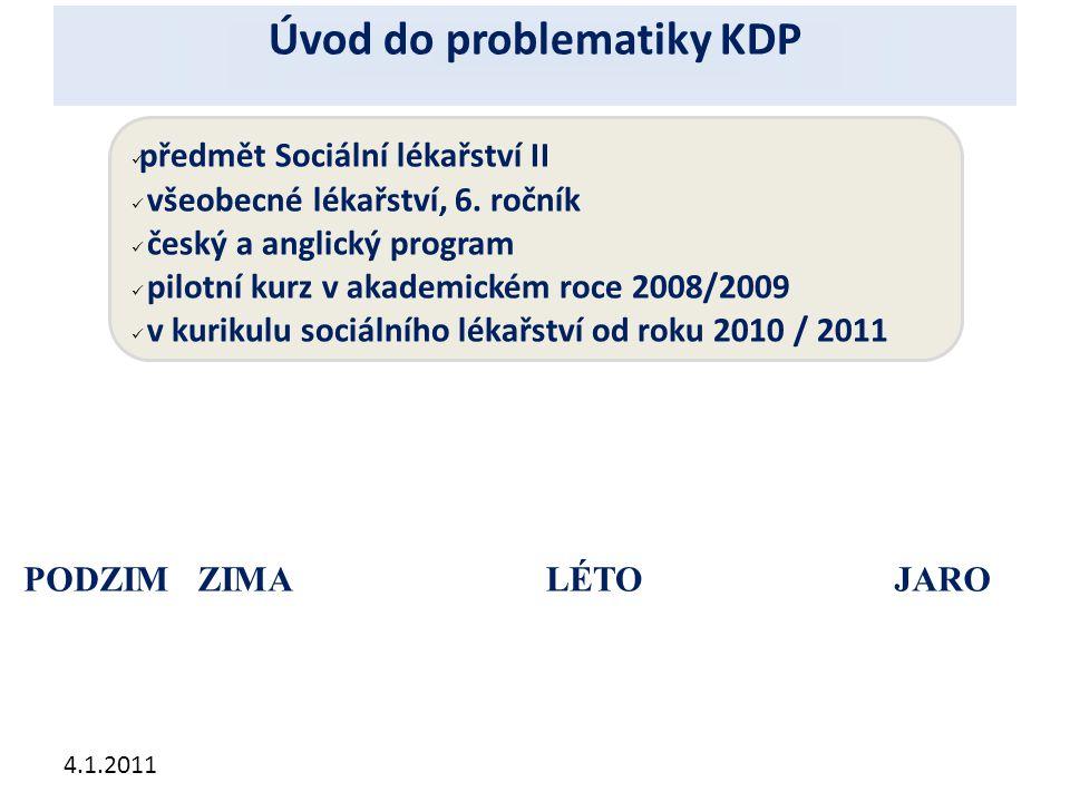 4.1.2011 PODZIMZIMAJAROLÉTO předmět Sociální lékařství II všeobecné lékařství, 6. ročník český a anglický program pilotní kurz v akademickém roce 2008