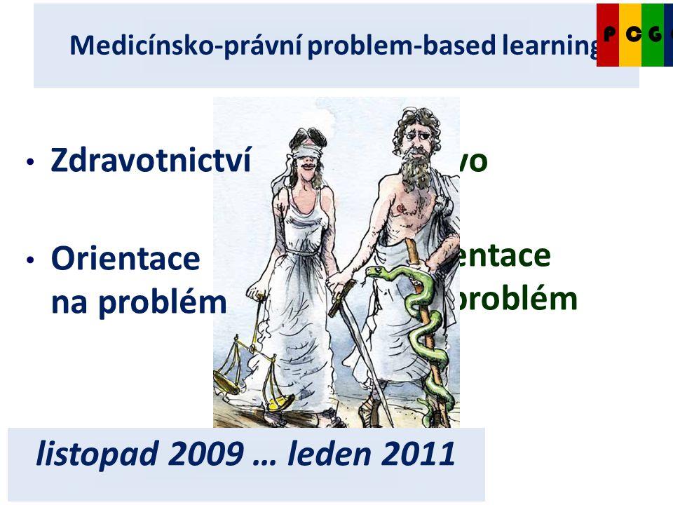 4.1.2011 Medicínsko-právní problem-based learning CCPG Právo Orientace na problém Zdravotnictví Orientace na problém listopad 2009 … leden 2011