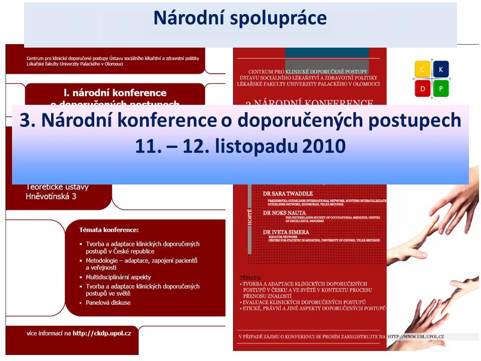 4.1.2011 Národní spolupráce 3. Národní konference o doporučených postupech 11. – 12. listopadu 2010