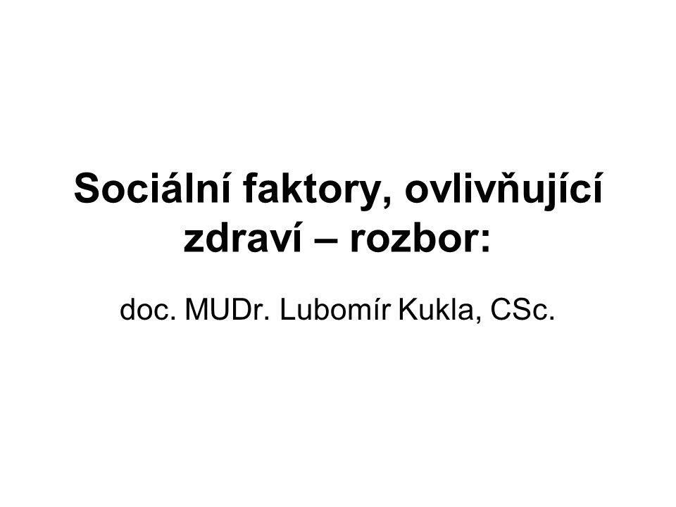 Sociální faktory, ovlivňující zdraví – rozbor: doc. MUDr. Lubomír Kukla, CSc.
