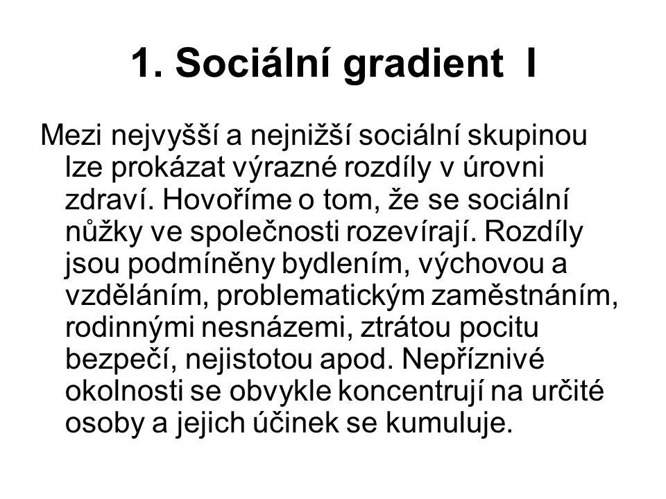 1. Sociální gradient I Mezi nejvyšší a nejnižší sociální skupinou lze prokázat výrazné rozdíly v úrovni zdraví. Hovoříme o tom, že se sociální nůžky v