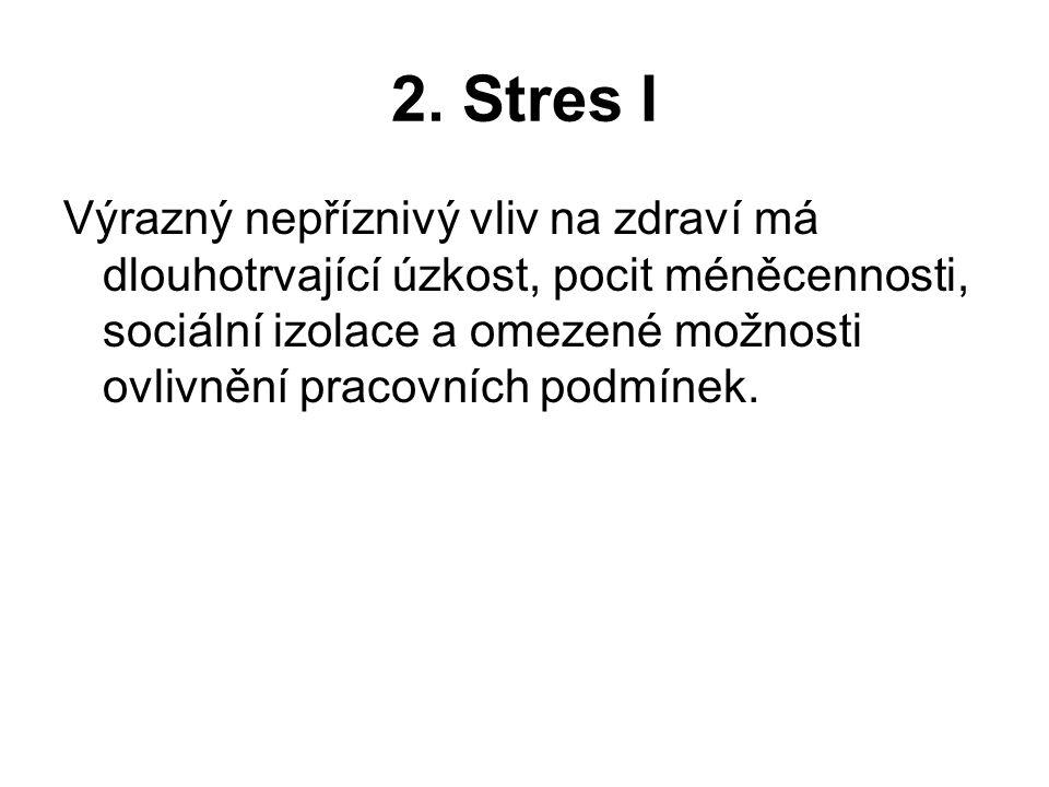 2. Stres I Výrazný nepříznivý vliv na zdraví má dlouhotrvající úzkost, pocit méněcennosti, sociální izolace a omezené možnosti ovlivnění pracovních po