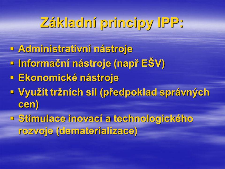 Základní principy IPP:  Administrativní nástroje  Informační nástroje (např EŠV)  Ekonomické nástroje  Využít tržních sil (předpoklad správných cen)  Stimulace inovací a technologického rozvoje (dematerializace)