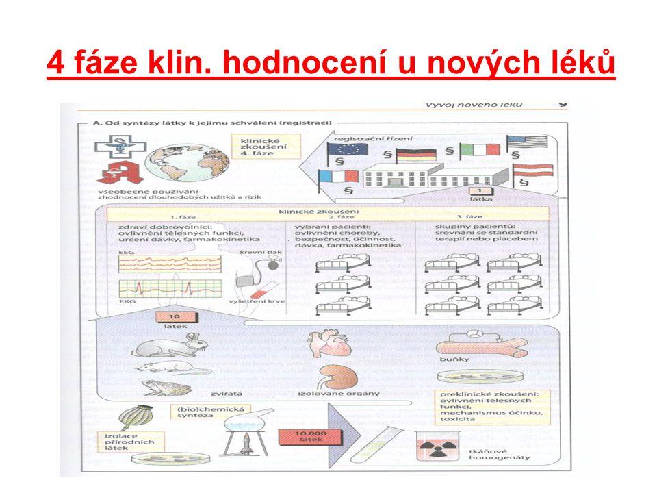 4 fáze klin. hodnocení u nových léků