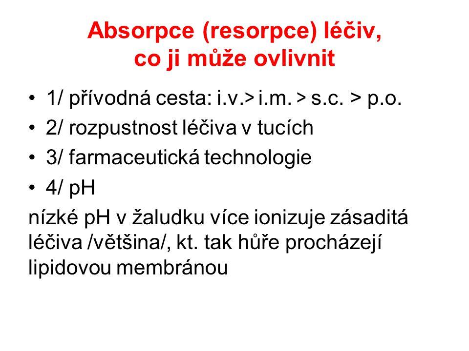 Absorpce (resorpce) léčiv, co ji může ovlivnit 1/ přívodná cesta: i.v. > i.m. > s.c. > p.o. 2/ rozpustnost léčiva v tucích 3/ farmaceutická technologi