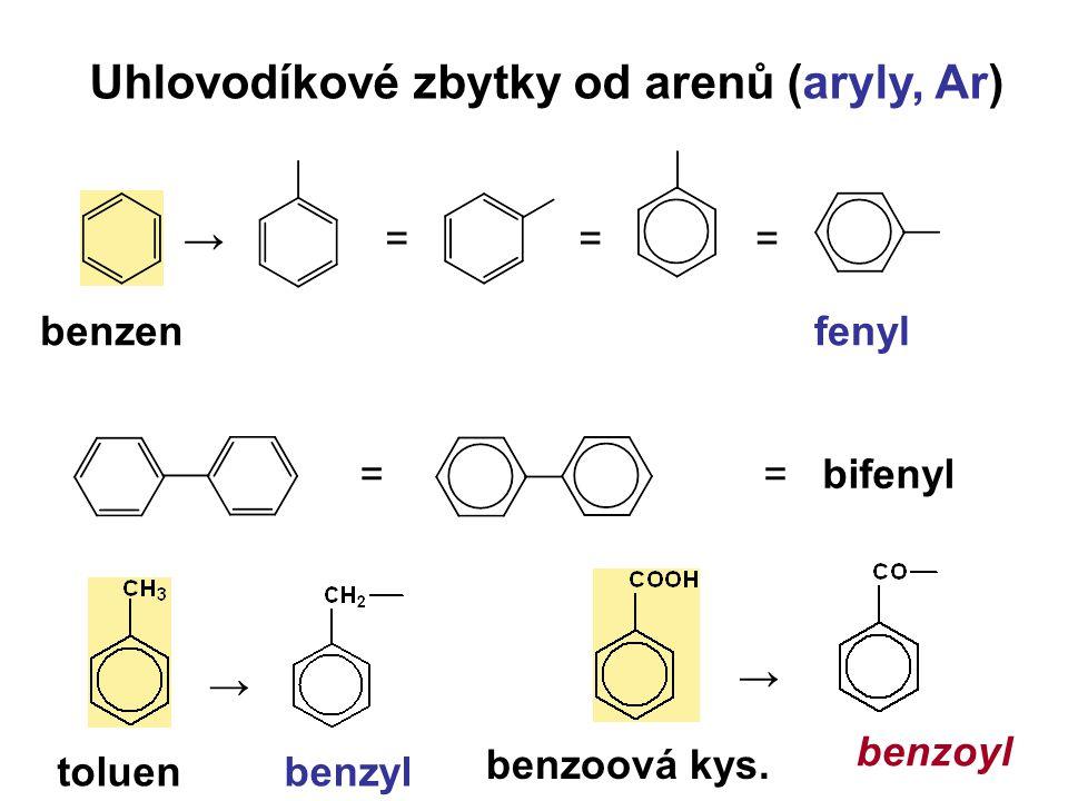 Uhlovodíkové zbytky od arenů (aryly, Ar) →=== = benzenfenyl = bifenyl → toluenbenzyl → benzoová kys. benzoyl
