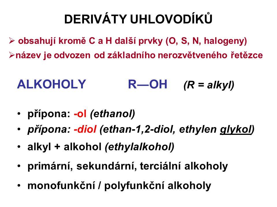 DERIVÁTY UHLOVODÍKŮ ALKOHOLYR―OH (R = alkyl) přípona: -ol (ethanol) přípona: -diol (ethan-1,2-diol, ethylen glykol) alkyl + alkohol (ethylalkohol) pri