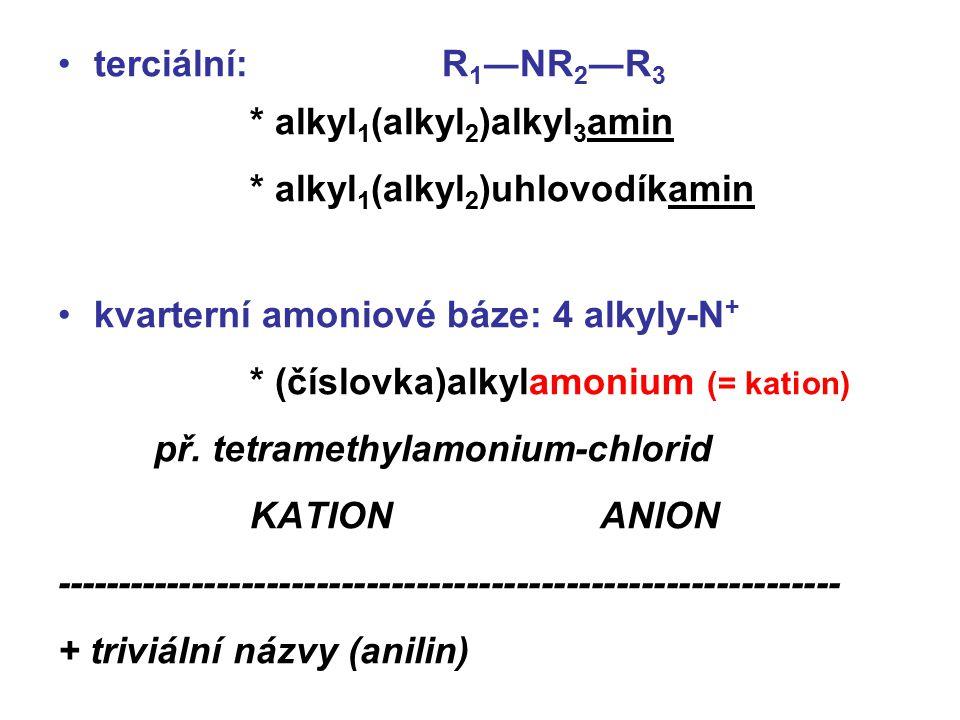 terciální: R 1 ―NR 2 ―R 3 * alkyl 1 (alkyl 2 )alkyl 3 amin * alkyl 1 (alkyl 2 )uhlovodíkamin kvarterní amoniové báze: 4 alkyly-N + * (číslovka)alkylam