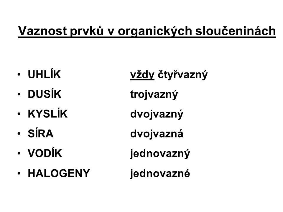 Vaznost prvků v organických sloučeninách UHLÍKvždy čtyřvazný DUSÍKtrojvazný KYSLÍKdvojvazný SÍRAdvojvazná VODÍKjednovazný HALOGENYjednovazné