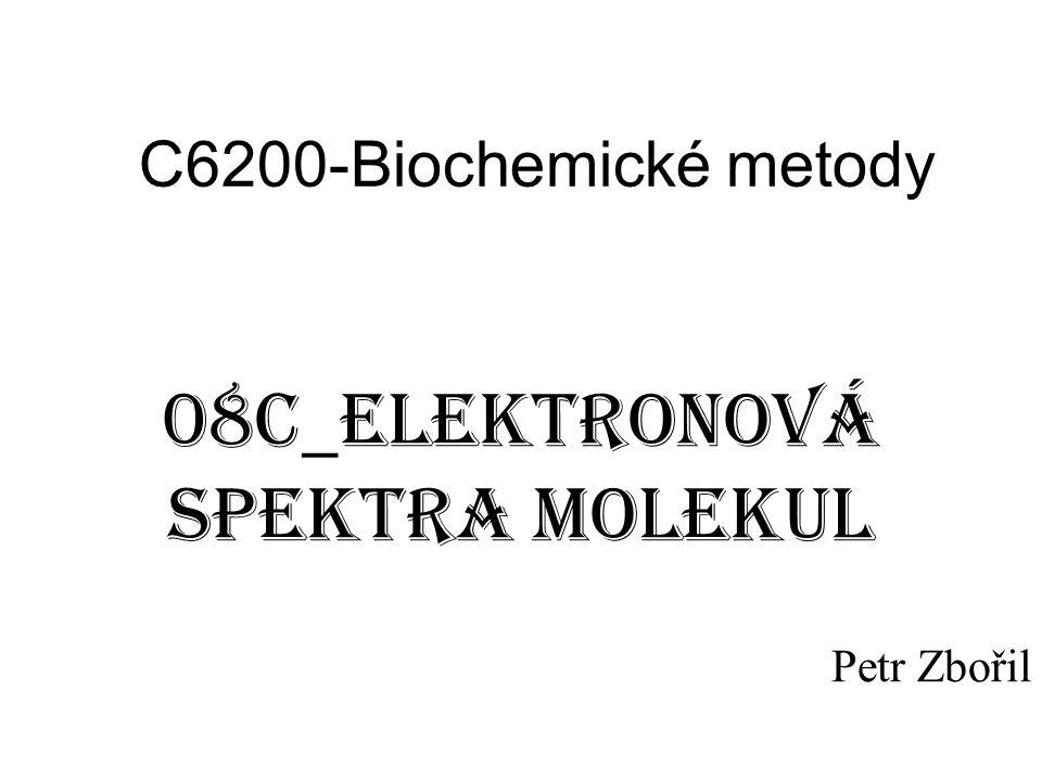 Elektronová spektra molekul Velké množství možných přechodů Franck-Condonův princip
