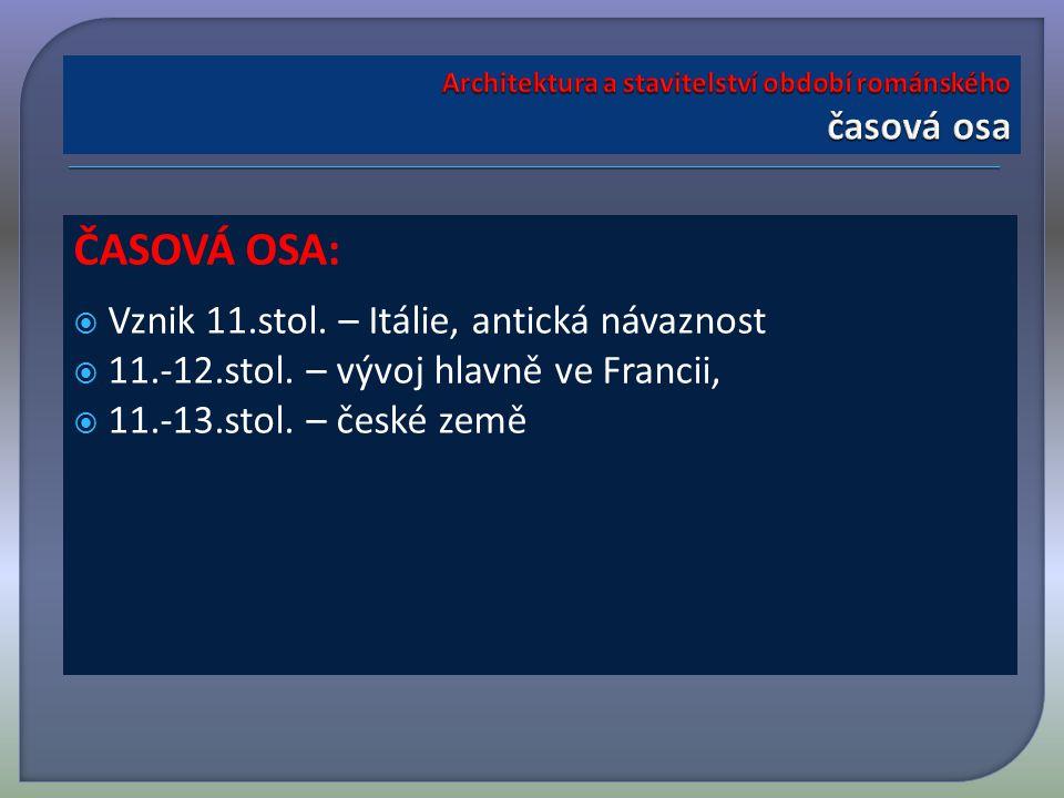 ČASOVÁ OSA:  Vznik 11.stol. – Itálie, antická návaznost  11.-12.stol.
