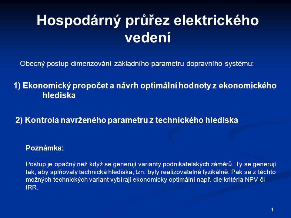 1 Hospodárný průřez elektrického vedení Poznámka: Postup je opačný než když se generují varianty podnikatelských záměrů. Ty se generují tak, aby splňo