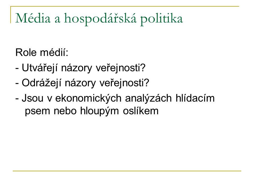 Média a hospodářská politika Role médií: - Utvářejí názory veřejnosti.