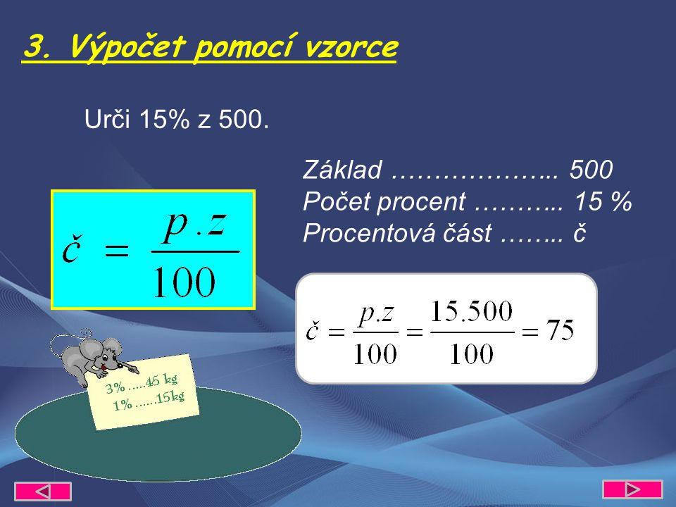 3. Výpočet pomocí vzorce Urči 15% z 500. Základ ………………..