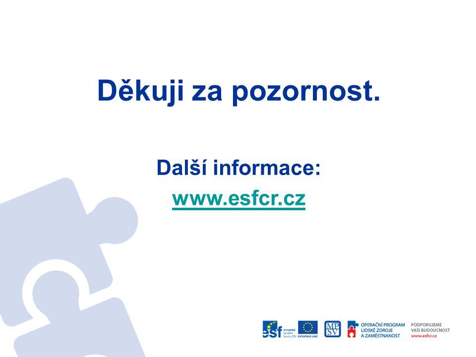 Děkuji za pozornost. Další informace: www.esfcr.cz