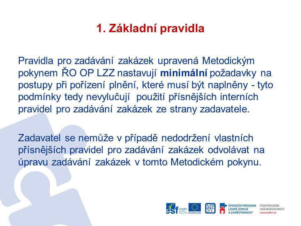 1. Základní pravidla Pravidla pro zadávání zakázek upravená Metodickým pokynem ŘO OP LZZ nastavují minimální požadavky na postupy při pořízení plnění,
