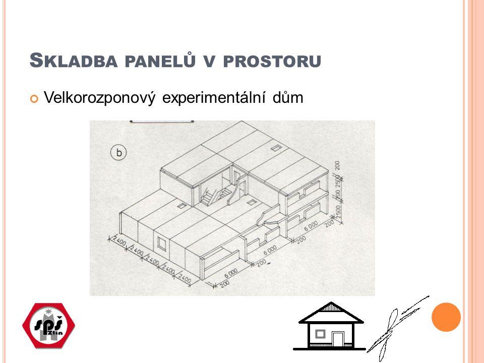 S KLADBA PANELŮ V PROSTORU Velkorozponový experimentální dům