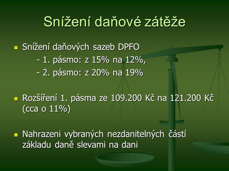 Snížení daňové zátěže Snížení daňových sazeb DPFO Snížení daňových sazeb DPFO - 1.