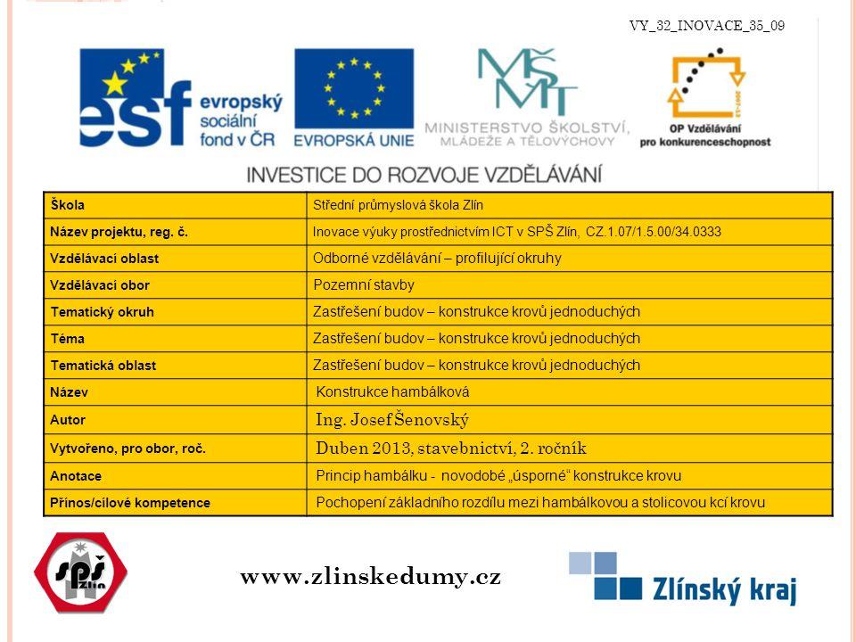 VY_32_INOVACE_35_09 www.zlinskedumy.cz ŠkolaStřední průmyslová škola Zlín Název projektu, reg.