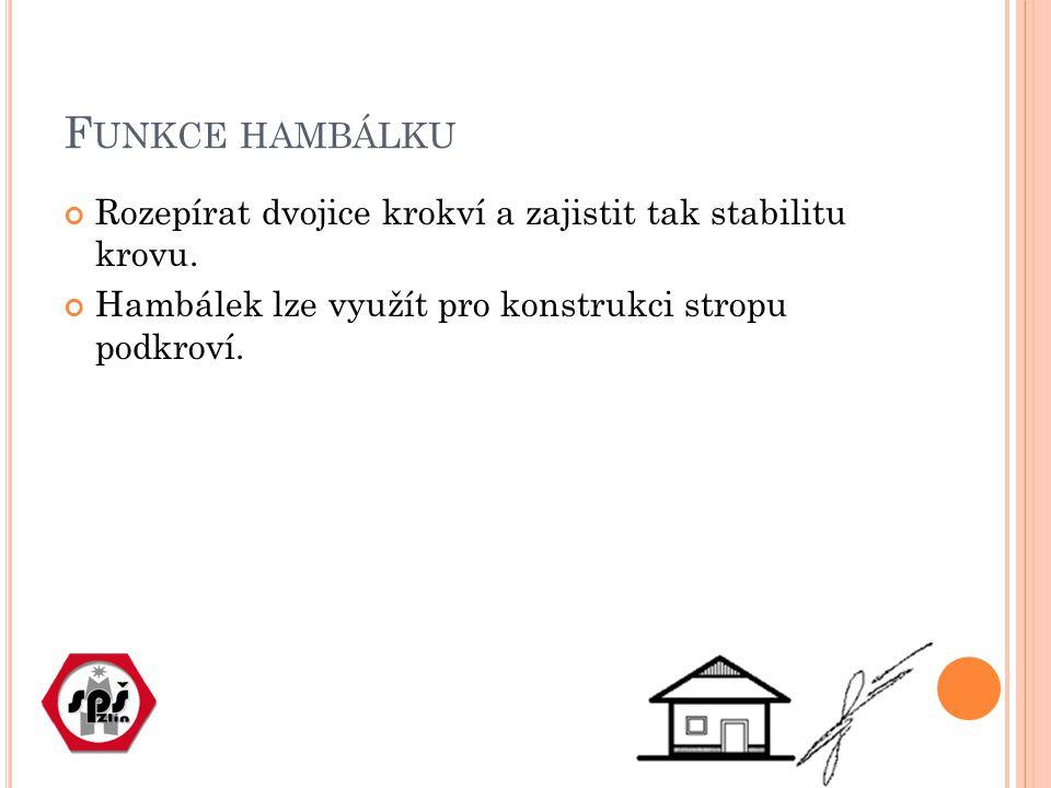 F UNKCE HAMBÁLKU Rozepírat dvojice krokví a zajistit tak stabilitu krovu.