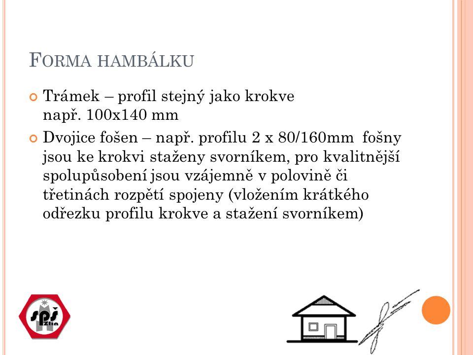 F ORMA HAMBÁLKU Trámek – profil stejný jako krokve např.