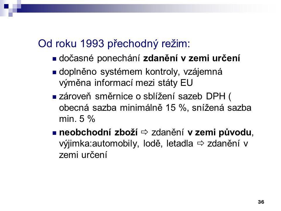 36 Od roku 1993 přechodný režim: dočasné ponechání zdanění v zemi určení doplněno systémem kontroly, vzájemná výměna informací mezi státy EU zároveň s