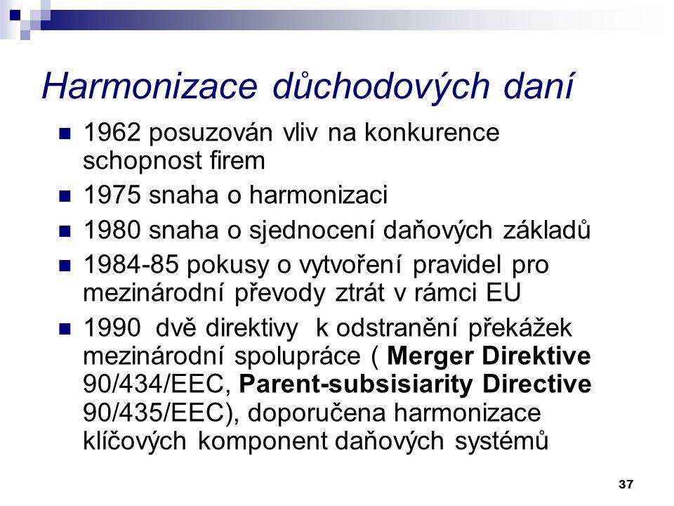 37 Harmonizace důchodových daní 1962 posuzován vliv na konkurence schopnost firem 1975 snaha o harmonizaci 1980 snaha o sjednocení daňových základů 1984-85 pokusy o vytvoření pravidel pro mezinárodní převody ztrát v rámci EU 1990 dvě direktivy k odstranění překážek mezinárodní spolupráce ( Merger Direktive 90/434/EEC, Parent-subsisiarity Directive 90/435/EEC), doporučena harmonizace klíčových komponent daňových systémů