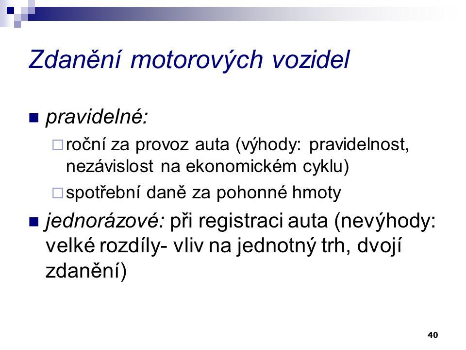 40 Zdanění motorových vozidel pravidelné:  roční za provoz auta (výhody: pravidelnost, nezávislost na ekonomickém cyklu)  spotřební daně za pohonné hmoty jednorázové: při registraci auta (nevýhody: velké rozdíly- vliv na jednotný trh, dvojí zdanění)