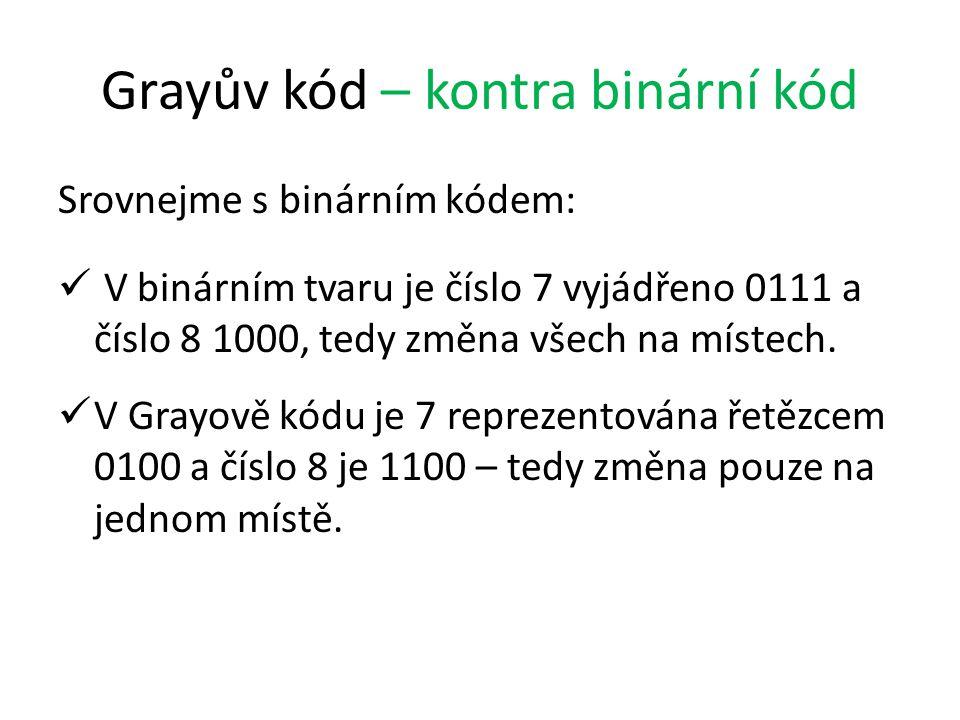 Grayův kód – kontra binární kód Srovnejme s binárním kódem: V binárním tvaru je číslo 7 vyjádřeno 0111 a číslo 8 1000, tedy změna všech na místech. V