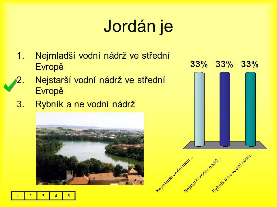Jordán je 12345 1.Nejmladší vodní nádrž ve střední Evropě 2.Nejstarší vodní nádrž ve střední Evropě 3.Rybník a ne vodní nádrž