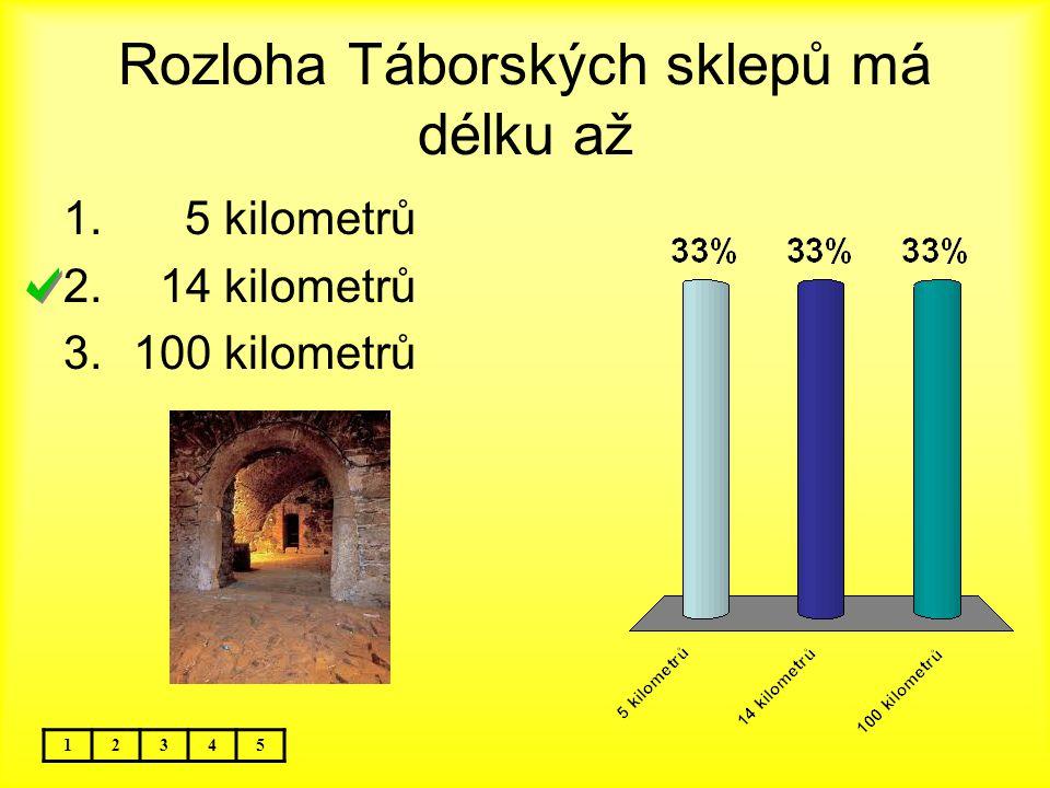 Rozloha Táborských sklepů má délku až 12345 1. 5 kilometrů 2. 14 kilometrů 3.100 kilometrů