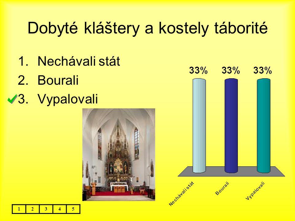 Dobyté kláštery a kostely táborité 12345 1.Nechávali stát 2.Bourali 3.Vypalovali