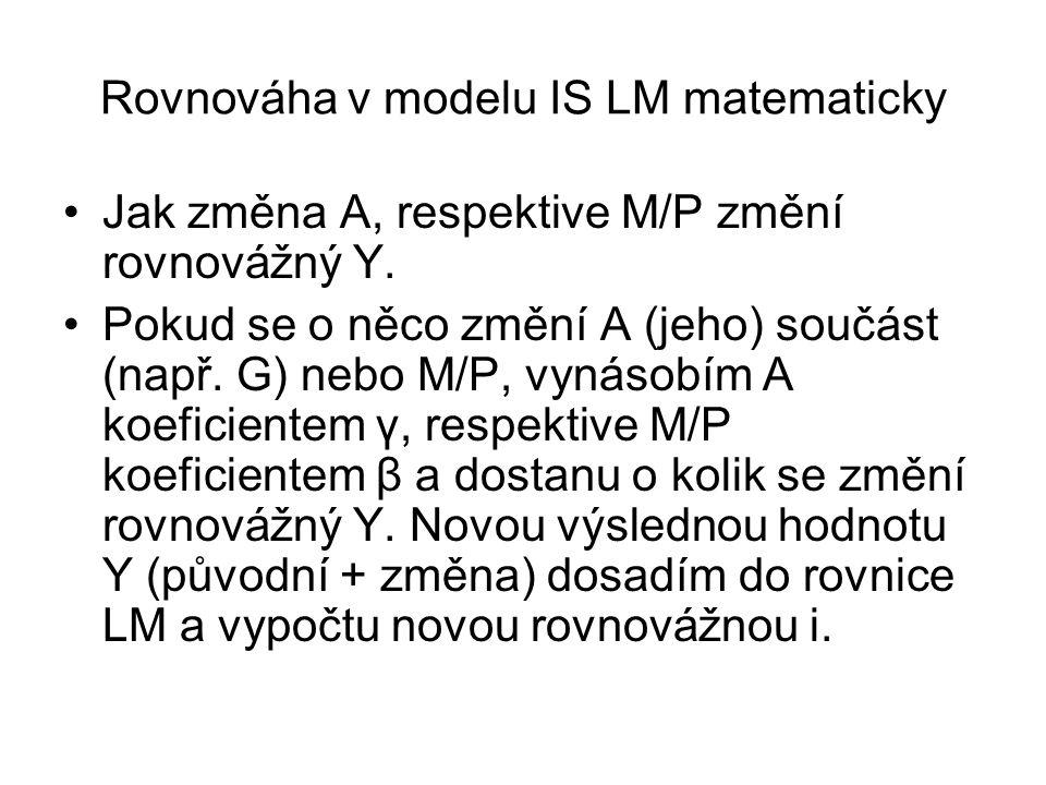 Rovnováha v modelu IS LM matematicky Jak změna A, respektive M/P změní rovnovážný Y.