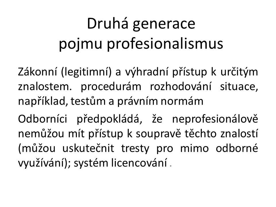 Druhá generace pojmu profesionalismus Zákonní (legitimní) a výhradní přístup k určitým znalostem. procedurám rozhodování situace, například, testům a