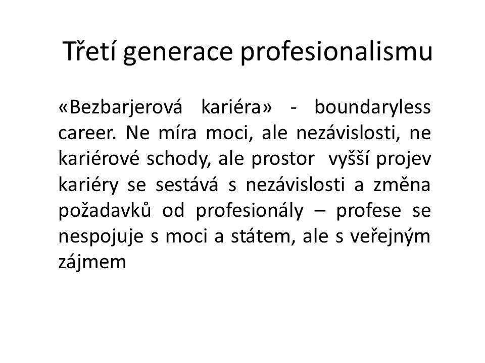 Třetí generace profesionalismu «Bezbarjerová kariéra» - boundaryless career. Ne míra moci, ale nezávislosti, ne kariérové schody, ale prostor vyšší pr