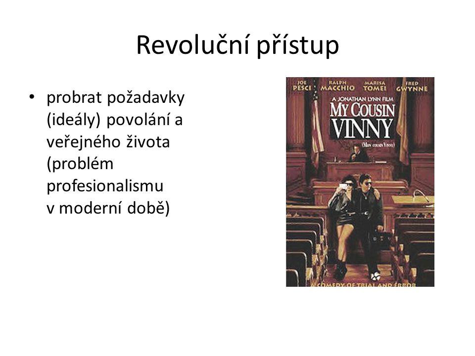 Revoluční přístup probrat požadavky (ideály) povolání a veřejného života (problém profesionalismu v moderní době)