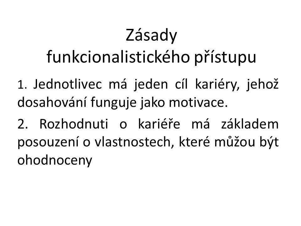 Zásady funkcionalistického přístupu 1. Jednotlivec má jeden cíl kariéry, jehož dosahování funguje jako motivace. 2. Rozhodnuti o kariéře má základem p