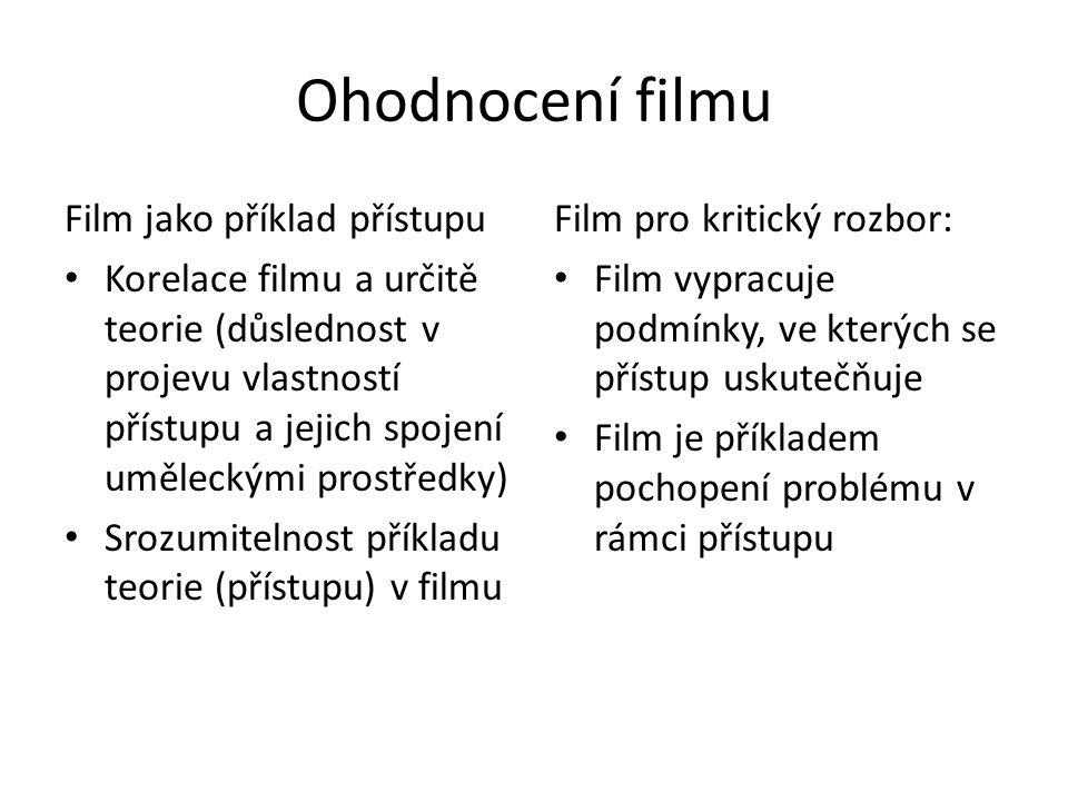 Ohodnocení filmu Film jako příklad přístupu Korelace filmu a určitě teorie (důslednost v projevu vlastností přístupu a jejich spojení uměleckými prostředky) Srozumitelnost příkladu teorie (přístupu) v filmu Film pro kritický rozbor: Film vypracuje podmínky, ve kterých se přístup uskutečňuje Film je příkladem pochopení problému v rámci přístupu