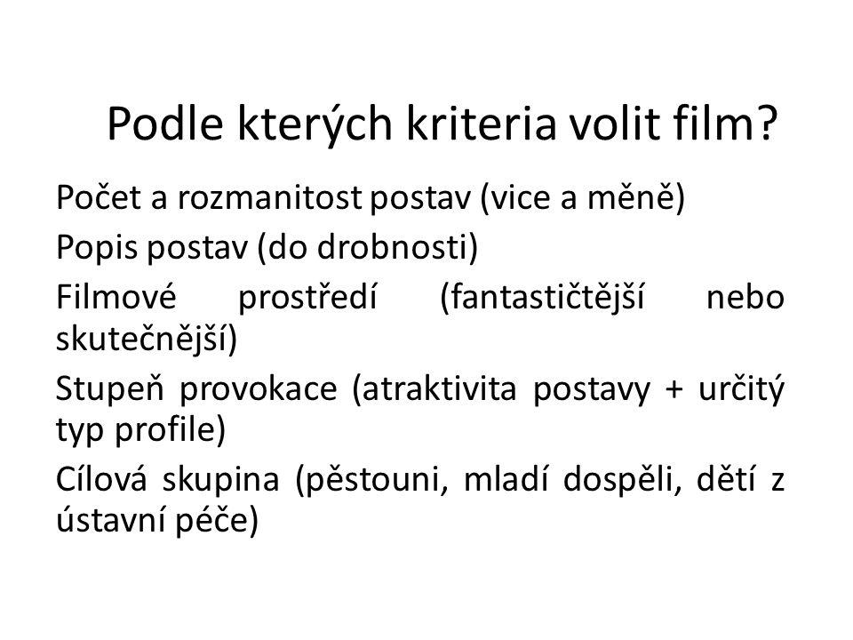 Podle kterých kriteria volit film? Počet a rozmanitost postav (vice a měně) Popis postav (do drobnosti) Filmové prostředí (fantastičtější nebo skutečn