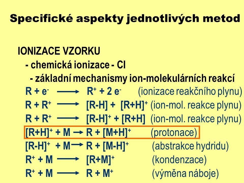 Specifické aspekty jednotlivých metod IONIZACE VZORKU - chemická ionizace - CI - základní mechanismy ion-molekulárních reakcí R + e - R + + 2 e - (ion