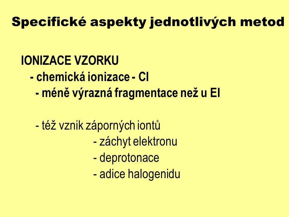 Specifické aspekty jednotlivých metod IONIZACE VZORKU - chemická ionizace - CI - méně výrazná fragmentace než u EI - též vznik záporných iontů - záchy
