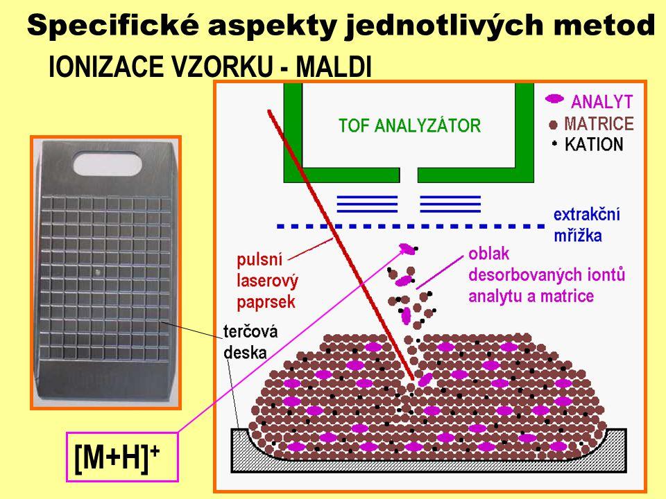 Specifické aspekty jednotlivých metod IONIZACE VZORKU - MALDI [M+H] +