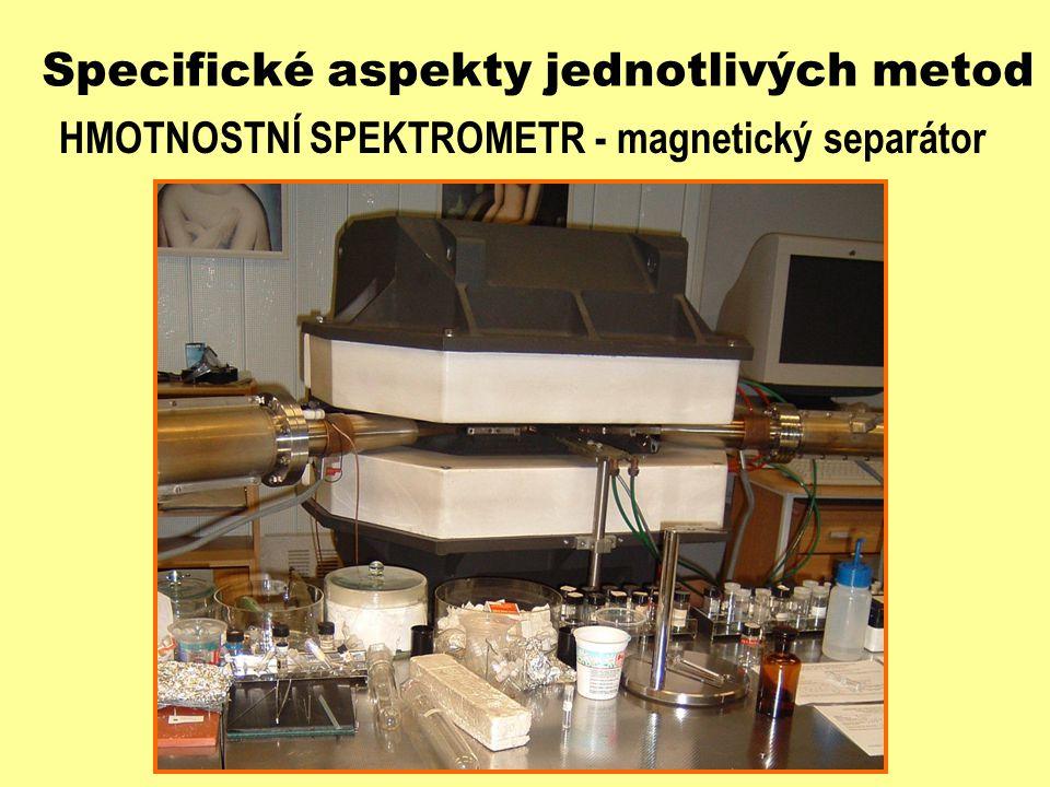 Specifické aspekty jednotlivých metod HMOTNOSTNÍ SPEKTROMETR - magnetický separátor