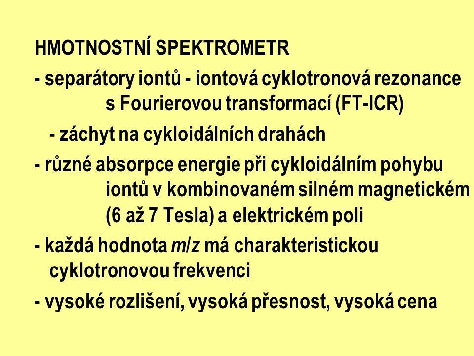 HMOTNOSTNÍ SPEKTROMETR - separátory iontů - iontová cyklotronová rezonance s Fourierovou transformací (FT-ICR) - záchyt na cykloidálních drahách - růz
